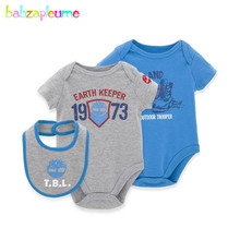 babzapleume Brand 0-6M Newborn Baby Twins Rompers Boys Infant Clothing Short Sleeve Girls Jumpsuit 3pcs/Set Child Clothes BC1040