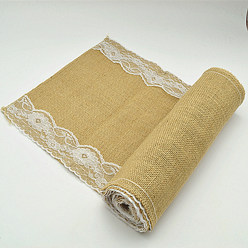 1pcs size 30cm*275cm Burlap Lace linen Table Runner Natural Jute Rustic Wedding Decoration white and black(China (Mainland))