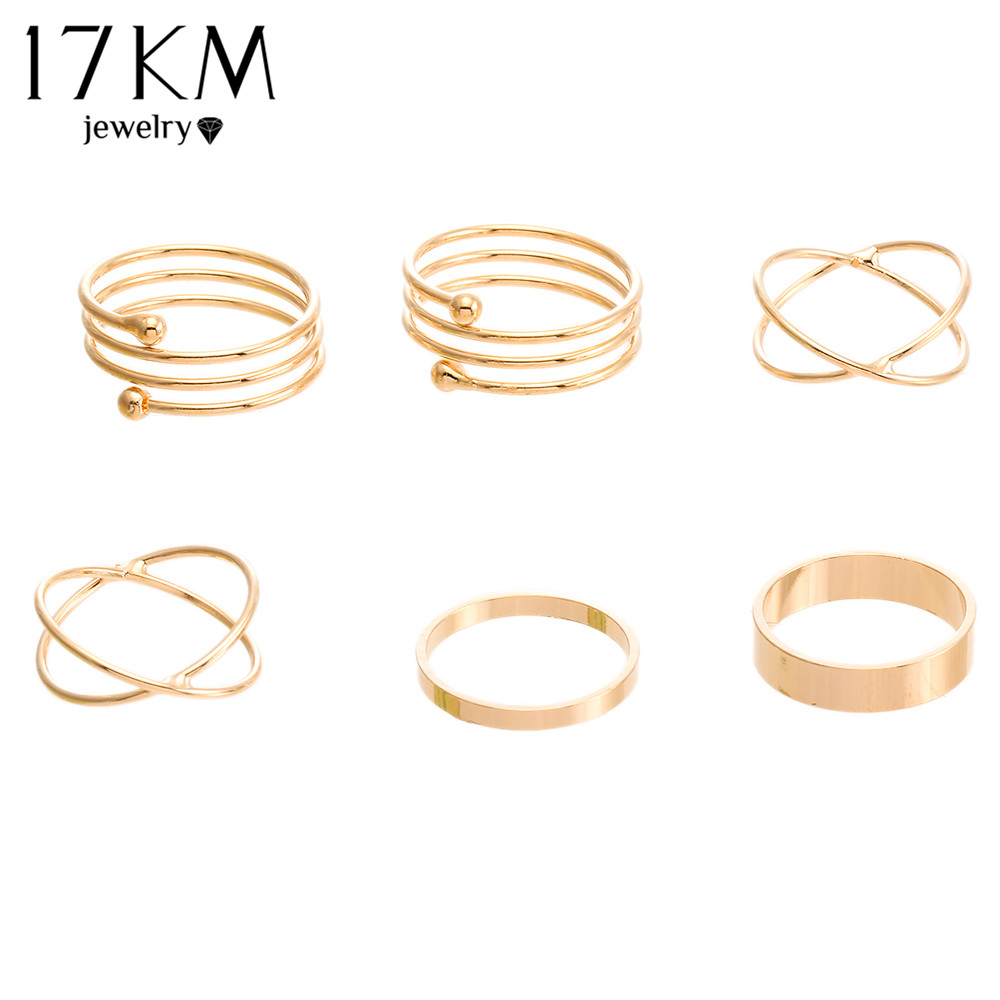Hot Unique Ring Set Punk Gold Plated Knuckle Rings for women Finger Ring 6 PCS Ring Set Best Selling 2015 M12(China (Mainland))