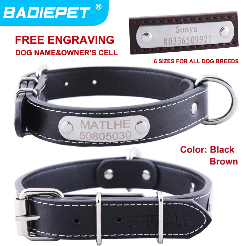 Leather Dog Pet Collar Personalized Tag Black Brown 6 Sizes available(Free Carving Name&Owner's Cell)10% 2pcs! - Nantong Badie Supplies Co.,Ltd store