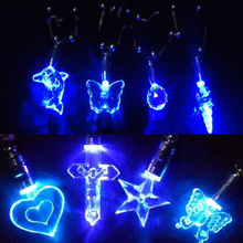 New Fashion Fancy Jewelry LED Blue Light Charmng Magnetic Pendant Necklace Pattern Randomly Free Shipping(China (Mainland))