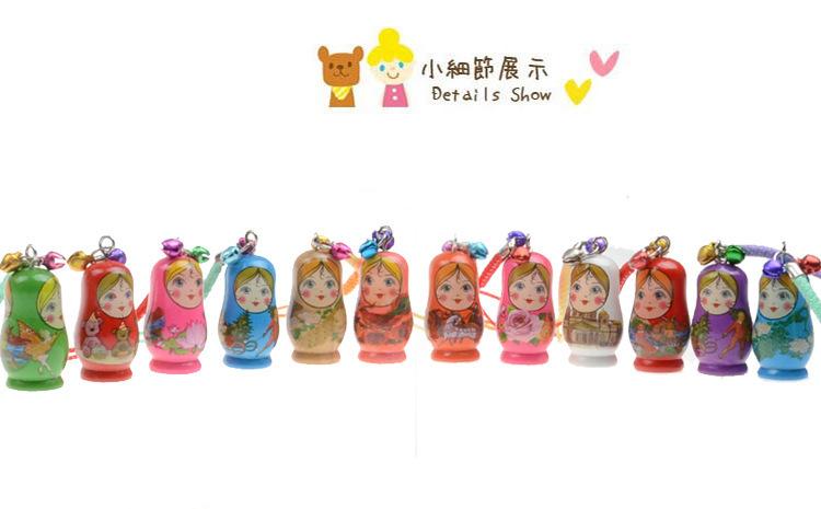 60PCS hand painted Wooden Toys Russian Doll Matryoshka Charm Pendant Mobile Phone Nesting Dolls Key chain Girl Doll Kids Gift(China (Mainland))