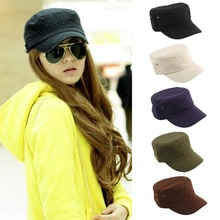 free shipping New 2016 Fashion Summer Adjustable Classic Army Plain Vintage Hat Cadet Military Cap High quality(China (Mainland))