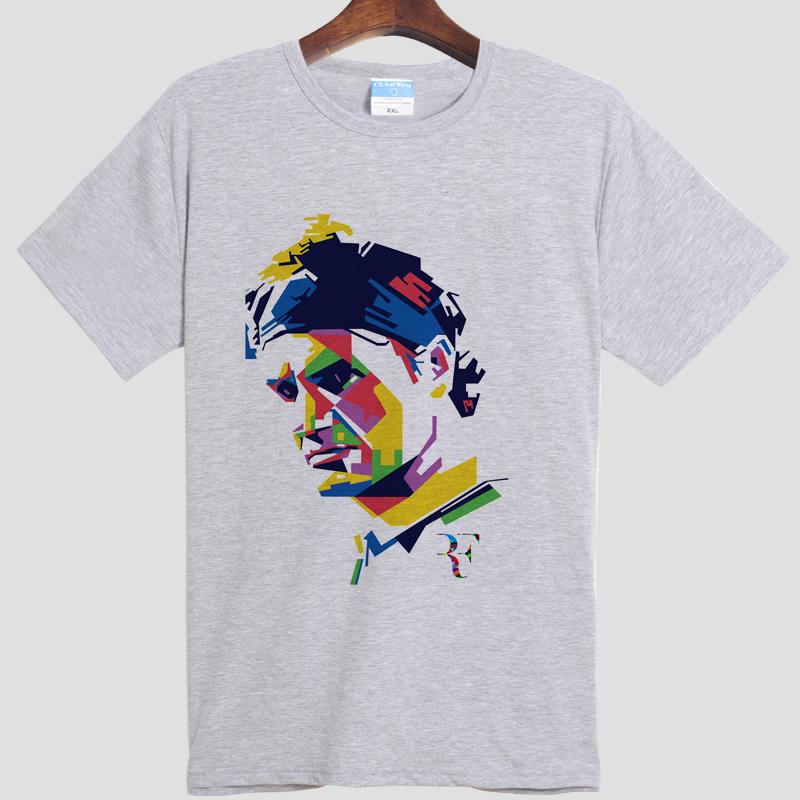 Roger watch Federer Roger federer DIY men's short sleeve T-shirt cotton Round collar white gray 001(China (Mainland))