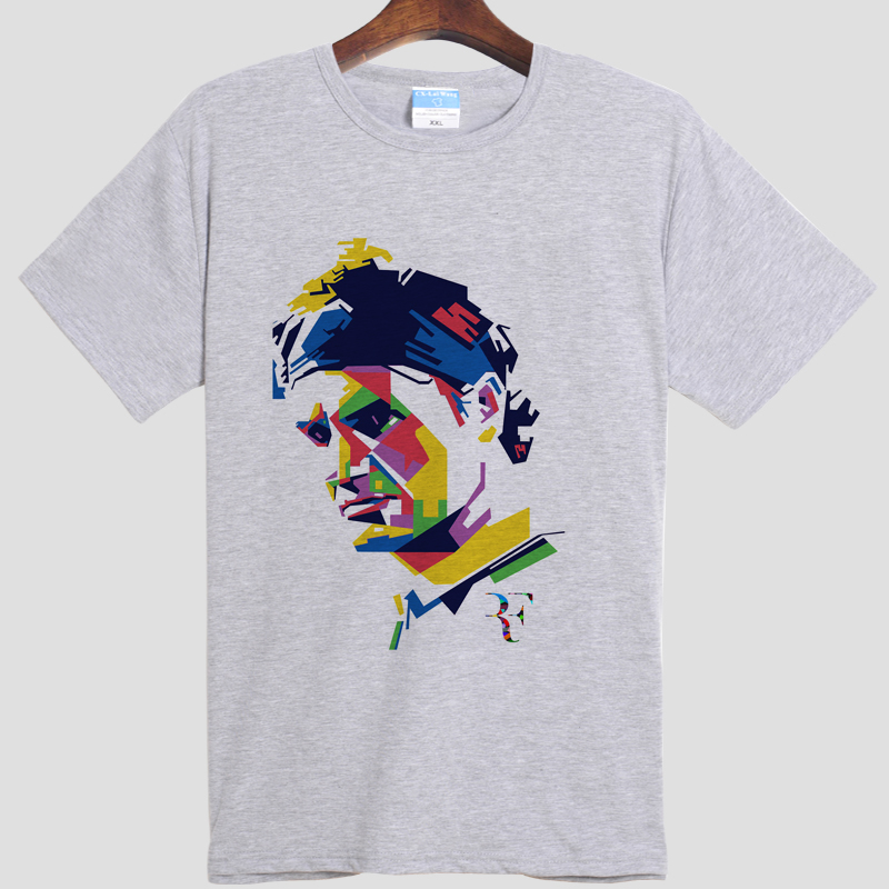 tennis Roger watch Federer Roger federer DIY men's short sleeve T-shirt cotton Round collar white gray 001(China (Mainland))
