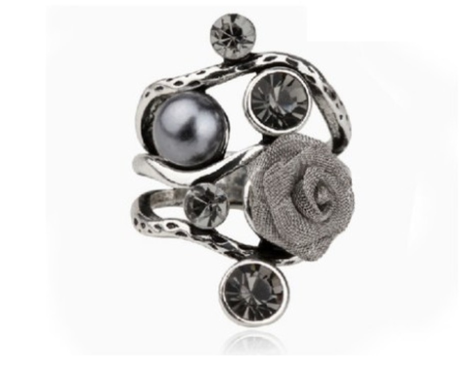 Nice Looking Design Vintage Silver Plated Metal Flower Pearl Finger Ring Fashion Wedding Jewelry Accessories Rings For Women(China (Mainland))