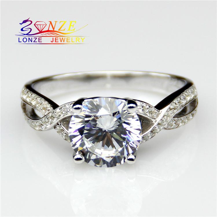 Center 1 Carat Brilliant Classic Engagement Ring ASCD Lab Grown Diamond Solid 9K Gold Diamond Twist Pave Wedding Ring<br><br>Aliexpress