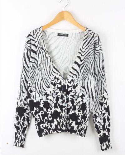 Zebra Print Cardigan Sweater 56