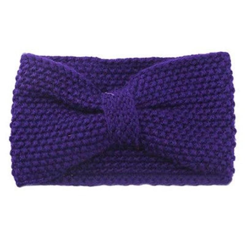 2016 New Trendy Women Knitted Headwrap Hair Band Ear Warmer Headband Crochet Bow Turban Purple(China (Mainland))