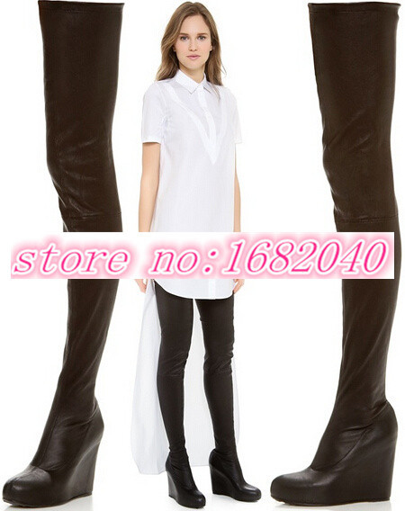 Здесь можно купить  Brand Black And White Thigh High Boots New Design Wedge Women Boots 2015 Pointed Toe Over Knee High Boots Shoes Woman High Heels  Обувь