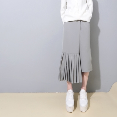 [ TwotwinСтиль ] 2016 корейский дизайнер асимметричная плиссированная сплайсинга ...