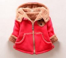 Children Winter Sweatshirts Cartoon Bear Boys Outwear Plus Velvet Thick Cotton Girls Hoodies Infant Cashmere Moleton Infantil(China (Mainland))