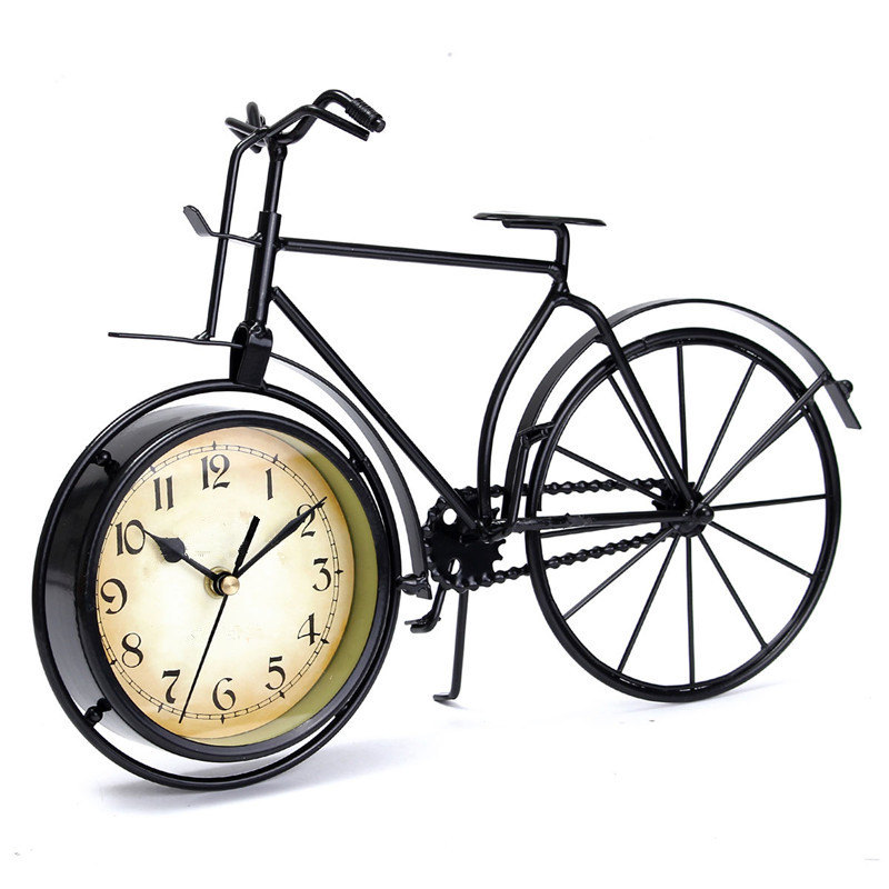 New Iron+Glass Retro Vintage Classic Old Bicycle Clock Table Clock Gift Home Decor Metal 360x100x250mm(China (Mainland))