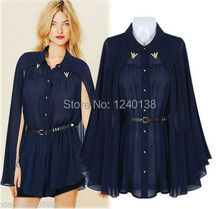 2014 Elegant Women Button Down Shirt Summer Party Chiffon Cape Blouse Tops with Belt(China (Mainland))
