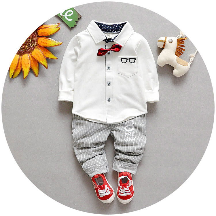 1-4 Year kids set 2016 spring autumn gentleman style children clothes 100%cotton blouse with bow+pants baby boys 2pcs suit<br><br>Aliexpress