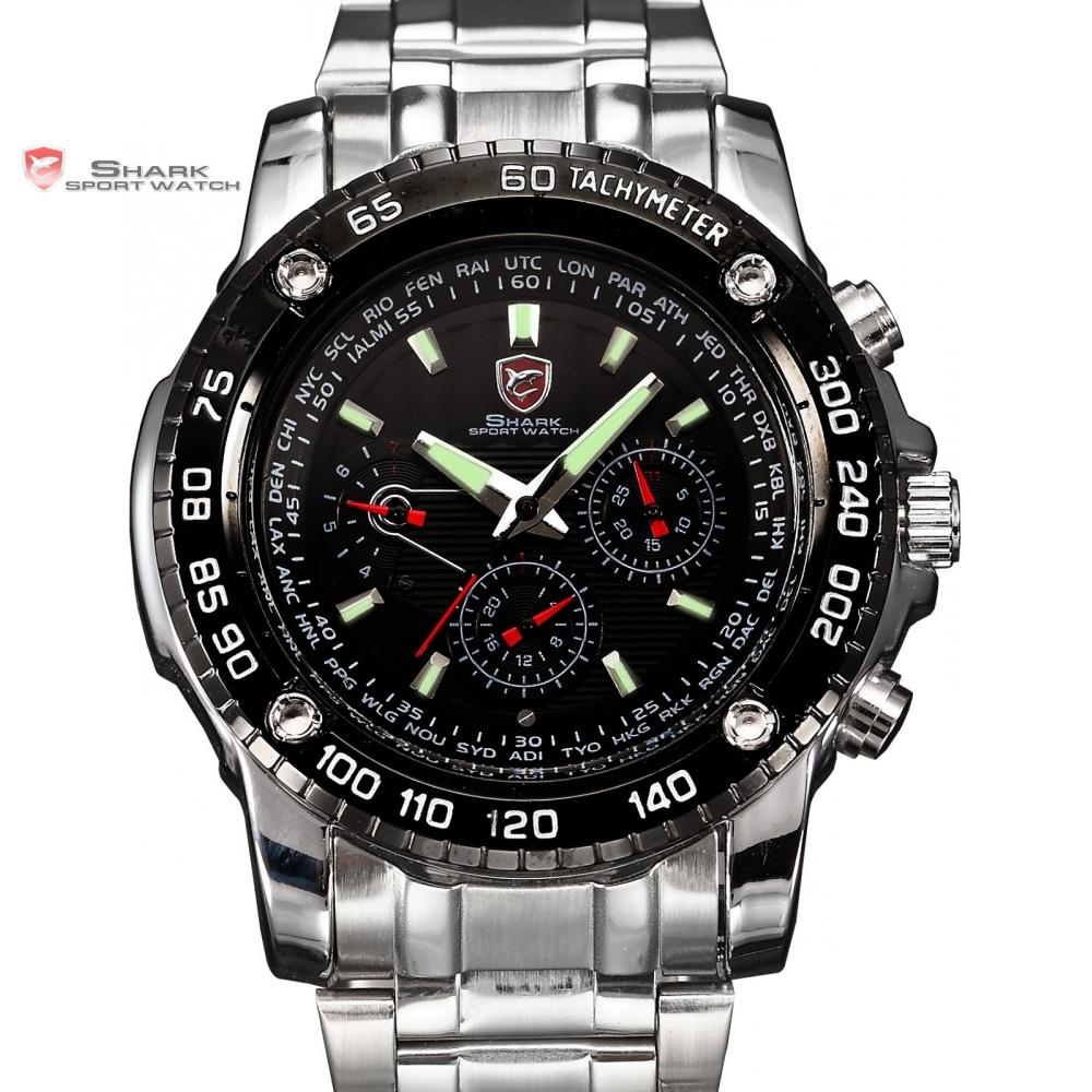 Saw SHARK Sport Watch 6 Hands Date Calendar Stainless Full Steel Black Silver Luminous Wrap Men's Quartz Wristwatch Gift / SH015