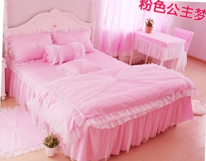 Cotton 1.2M-2.0M bed 3pcs Children 4pcs Princess girl pink dream bedspread lace bedding set Twin/Full/Queen/King/SuperKing/3005(China (Mainland))