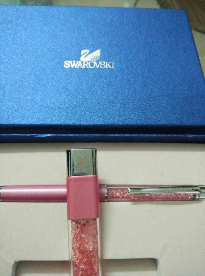 Swarovski Crystal Pen 8G Usb Disk for students Crystalline Lady Ballpoint Pen stationery(China (Mainland))