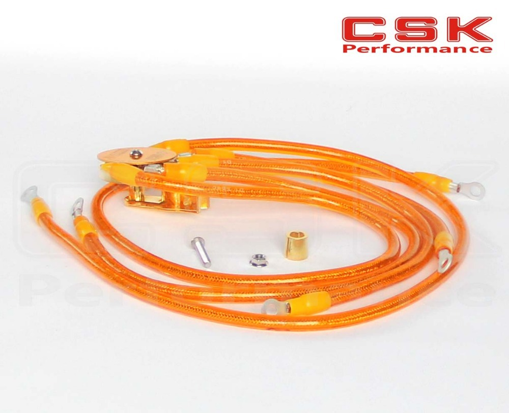 Universal 5 Point D1 Super Earth System Grounding Ground Wire Cable Kit Yellow(China (Mainland))