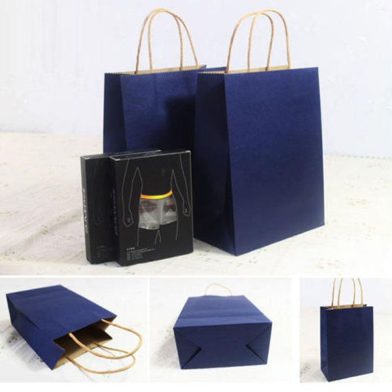 4Pcs 10 Colors Small Kraft Paper Bag With Handle Gift Shopping Bag 16*8*21 cm(China (Mainland))