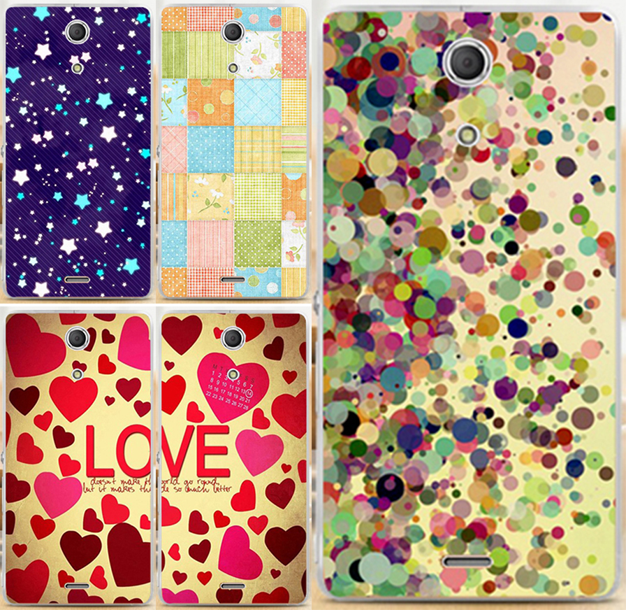 Magnetic Lovely Heart Case For Sony Xperia ZR C5502 C5503 M36h cartoon star colorful protective case cover(China (Mainland))