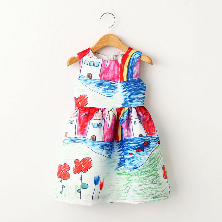 Girls Dresses Baby Girl Clothes Character Painting 2015 Brand New Christmas Costumes Graffiti Vest Dress for Princess Children(China (Mainland))