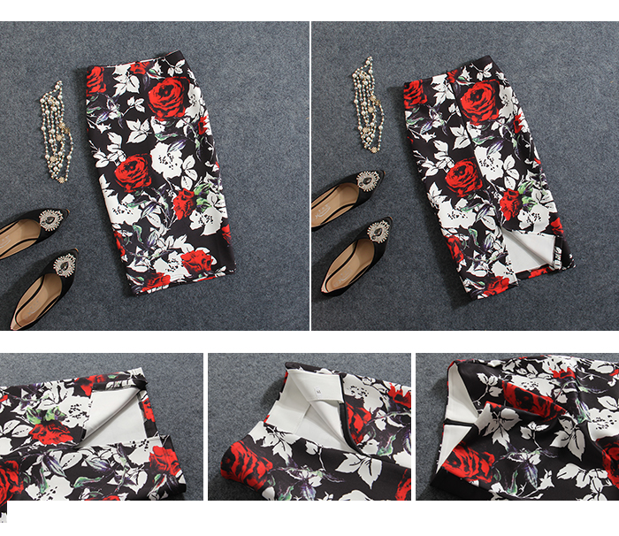 Pencil Skirt New Arrival Cotton Fashion Straight None 2017 Summer Women Skirt New Roses Sexy High Waist Pack Hip Print Female