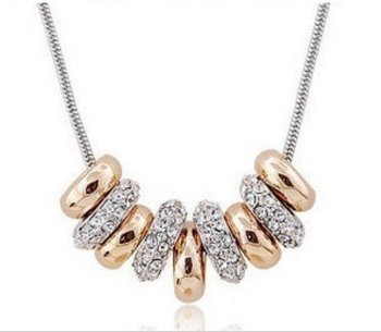 Wholesale 9 circles silver Crystal charms necklace.fashion jewelry.Free shipping.TOP quality.