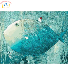 Digital oil paint by number painting by numbers diy hand painted picture can canvas drawing coloring wall craft big fish G407(China (Mainland))