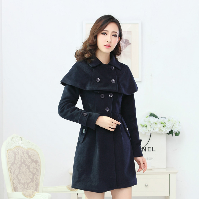 women jacket cloak coat slim jacket single breasted coat Shawl jacket wool jaqueta(China (Mainland))