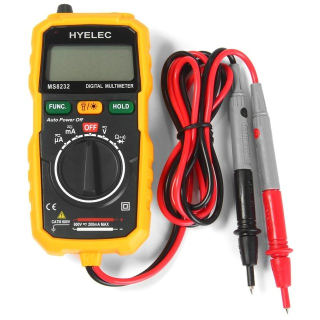 Non-Contact Mini Digital Multimeter DC AC Voltage Current Tester HYELEC MS8232 Ammeter Multitester Free shipping