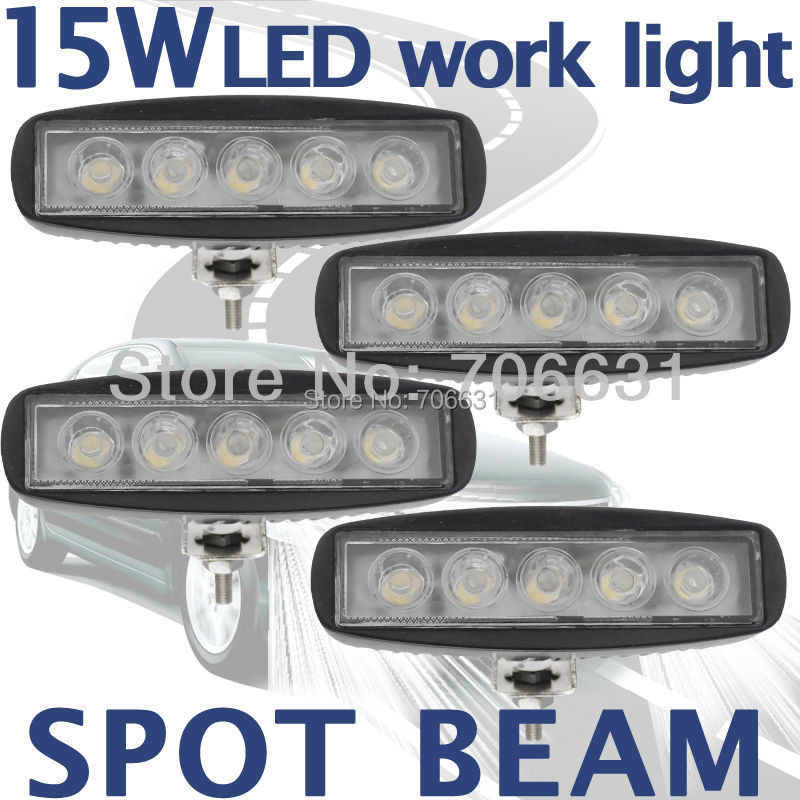 4pcs 15W Black LED Off road Slim Spot Work Light Pencil beam Lamp 12V/24V for car Truck 4WD 4X4<br><br>Aliexpress