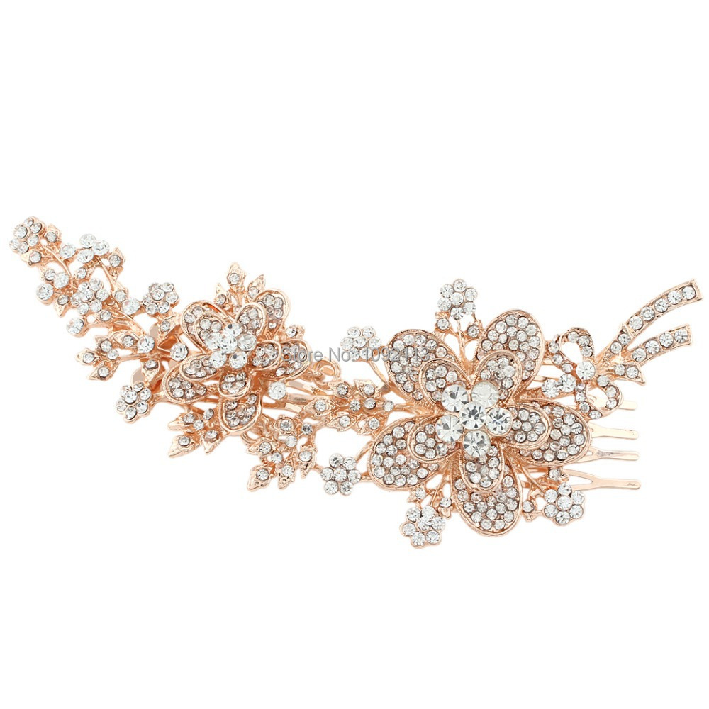 BELLA 2015 Bridal Rose Gold Flower Hair Comb Austrian Crystal Head Piece For Women Wedding Hair Piece Bridesmaid Jewelry(China (Mainland))