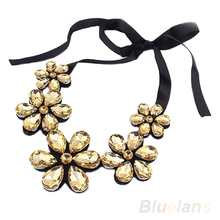 New Fashion exquisite Flower Ribbon Gem Petals charming Bib collar Necklace jewelry items 1FAY