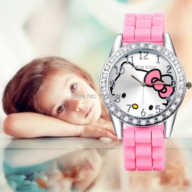 2015 New hello kitty kids cartoon watches silicone girls quartz watch women watches mujer relojes rhinestone children watches(China (Mainland))