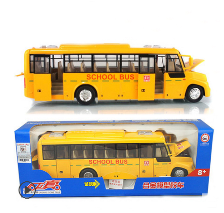 Original Box 1:24 Large American school bus can open alloy light back car model school bus for children toys(China (Mainland))