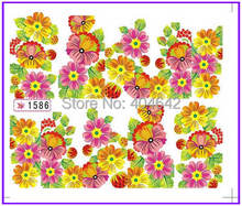 1X  Nail Sticker Full Cover Sun Flower Water Transfers Stickers Nail Decals Stickers Water Decal Opp Sleeve Packing SY1586(China (Mainland))