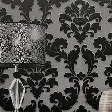 papel de parede. classic wall paper home decor background wall damask wallpaper black floral wallcovering 3d velvet wallpaper li(China (Mainland))
