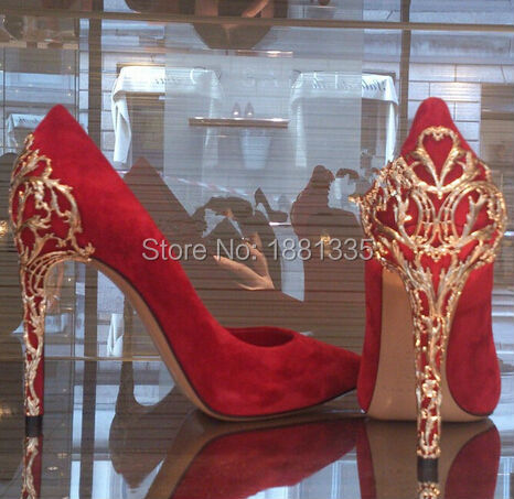 Newest sexy pointed toe high heels gold metal decorated design woman pumps red black suede slip-on heels(China (Mainland))