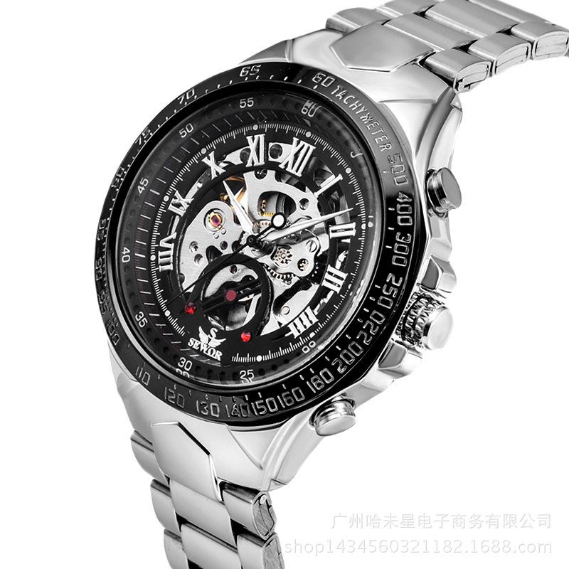 new fashion 2016 steel men male clock sewor brand stylish design classic mechanical self wind wrist dress skeleton watch gift(China (Mainland))