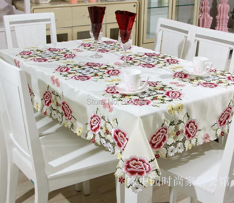 Hot Embroidered Table Cloths Elegant Polyester Satin Floral Embroidery Tablecloth Peony Table Cloth Cover Overlays Home YYM8991(China (Mainland))