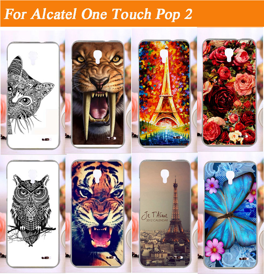 14 patterns painting Hard back cover cell phone case skin hood shell For Alcatel one touch Pop 2 M5 5042X 5042D 5042A 5042W 5042(China (Mainland))