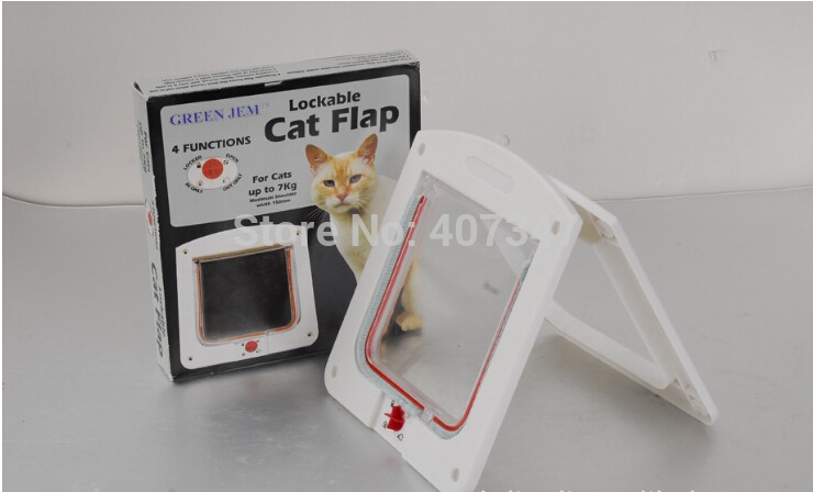 Free shipping! Cat Flap cat gate small dog door white & brown available(China (Mainland))