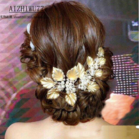 2016 Fashion Elegant Pearl Crystal Bridal tiaras Classic Golden headband for Women fromal dress Wedding hair jewelry accessories