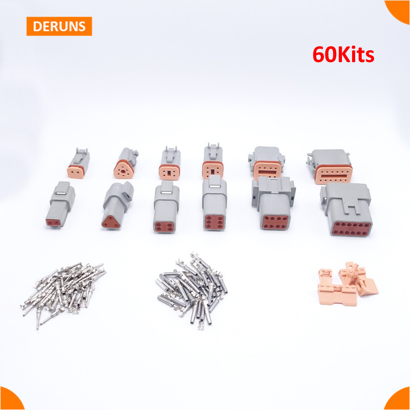 60 sets 6 models Deutsch DT06/DT04 2/3/4/6/8/12 Pin Engine/Gearbox waterproof electrical connector for car,bus,motor,truck<br>