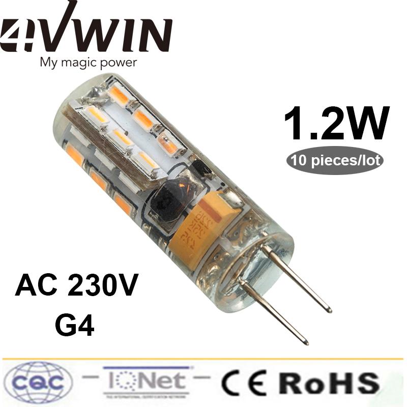 10Pieces/Lot Warm White Cold White 24pcs G4 12v Led Lamp 1.2 W 100 Lumen Silicone Body Corn lamp Lights 360 Degree Beam Angle(China (Mainland))