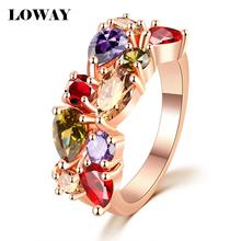 LOWAY Fashion Multicolor Rings Women Anillos Cubic Zirconia 18K Rose Gold Plated Wedding Finger Ring Fine Jewelry Bague JZ5900(China (Mainland))