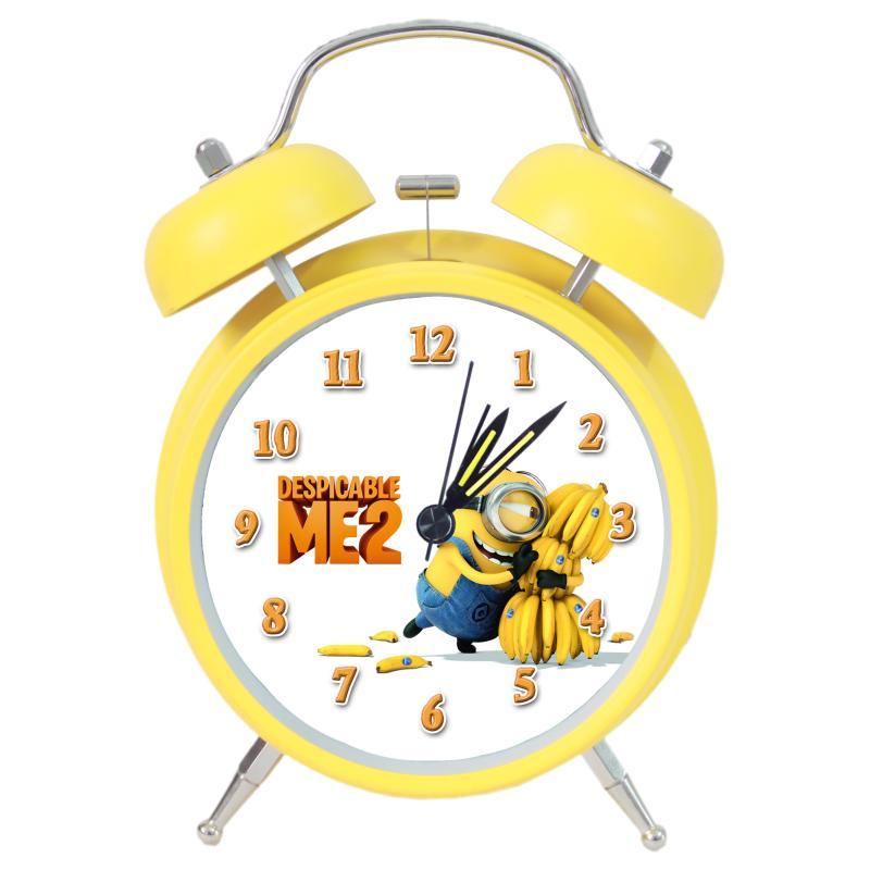2016 #0186 home office decoration metal Me Minion night light morden vintage brief art alarm clock(China (Mainland))