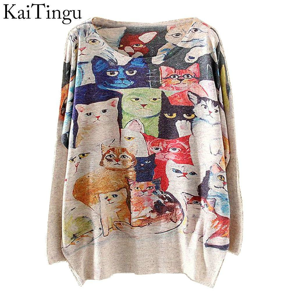 KaiTingu 2015 New Fashion Winter Women Sweater and Pullovers Long Batwing Sleeve Knitted Jumper Knitwear Cat Home Print Sweaters(China (Mainland))