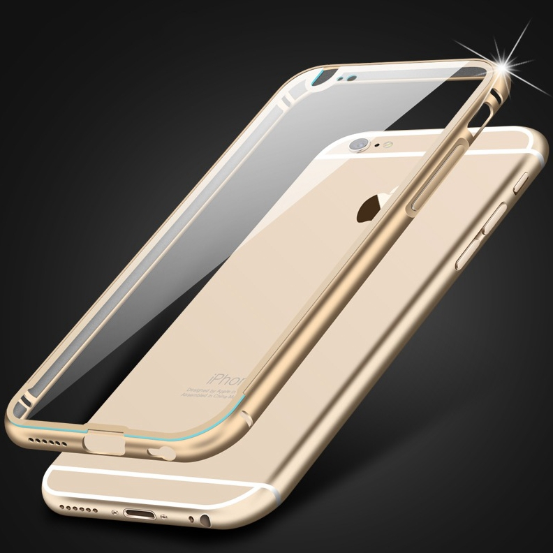 0.3mm Ultrathin! Metal Aluminum + Clear Hard Back Luxury Case for Apple iphone 6 4.7 / Plus 5.5 Transparent Hybrid Cover Armor(China (Mainland))
